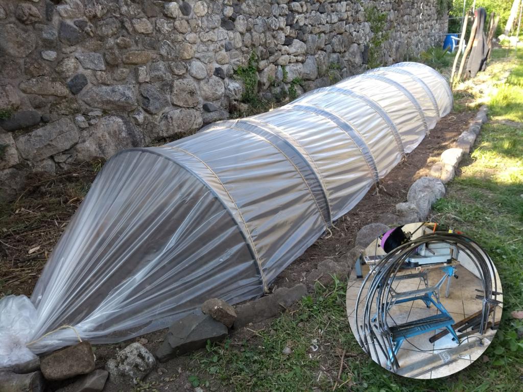 Arceaux en acier pour tunnel de potager.